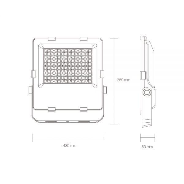 PROJECTEUR HOUSTON 200 W 30000 lm IP 66 430x389x63 mm