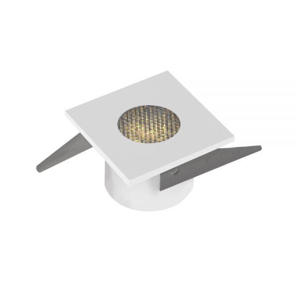 MINI SPOT CARRE 1W 100-110lm IP20 30° 35x35x22mm BLANC